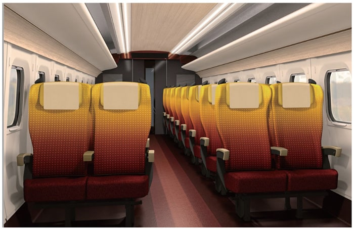Safflower colored seating in the Standard car
