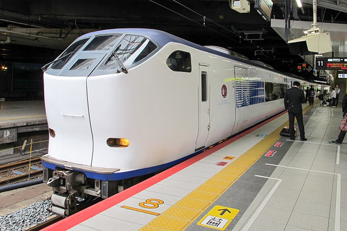 JR West's Kansai Airport Express Haruka. Currently it runs via the Osaka Loop Line, but when the Naniwasuji Line is completed the route and journey time will become much shorter