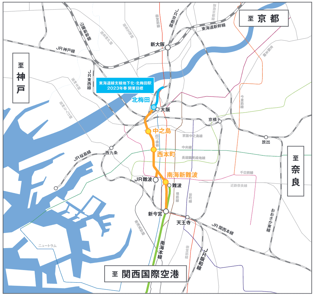 A map showing the planned route of the Naniwasuji Line in yellow, the Tokaido Main Line branch line in blue, and the Nankai Main Line in green