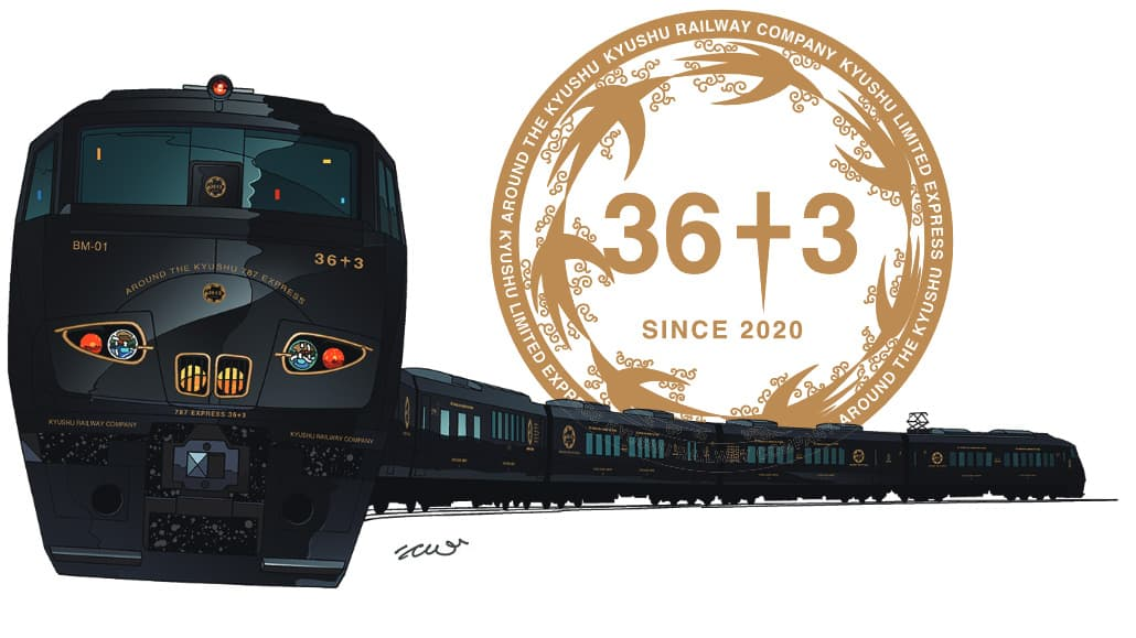 The new JR Kyushu 36 plus 3 train and its logo