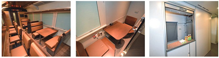Left to right: Car 1's lounge, private compartment and sales counter