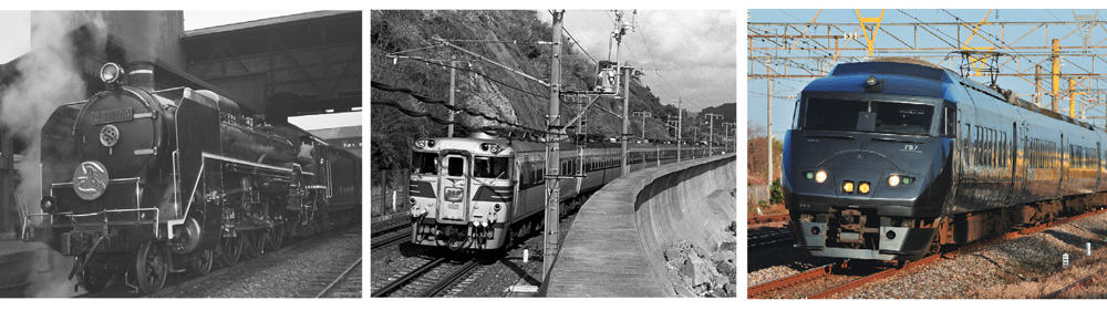 Left to right: the SL Kamome which ran from 1937, the Limited Express Kamome that ran from 1961, and the current Limited Express Kamome