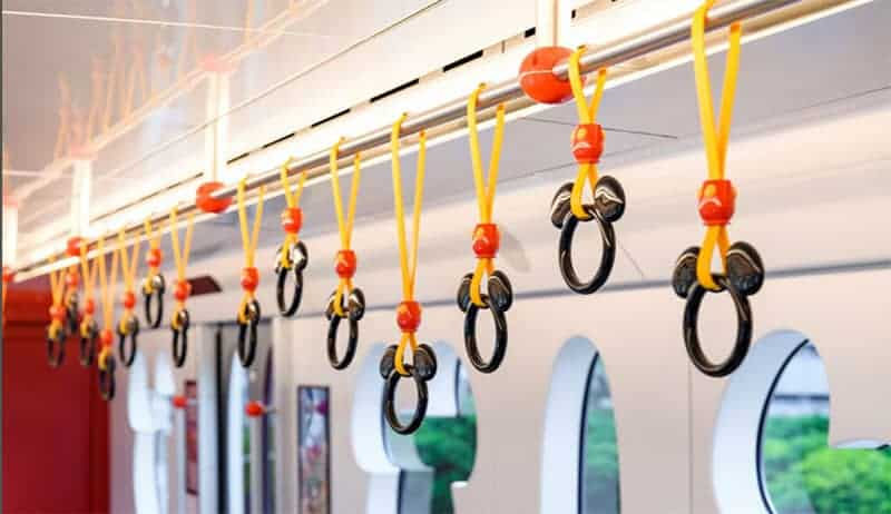 Hand straps hang at different heights for both adults and children