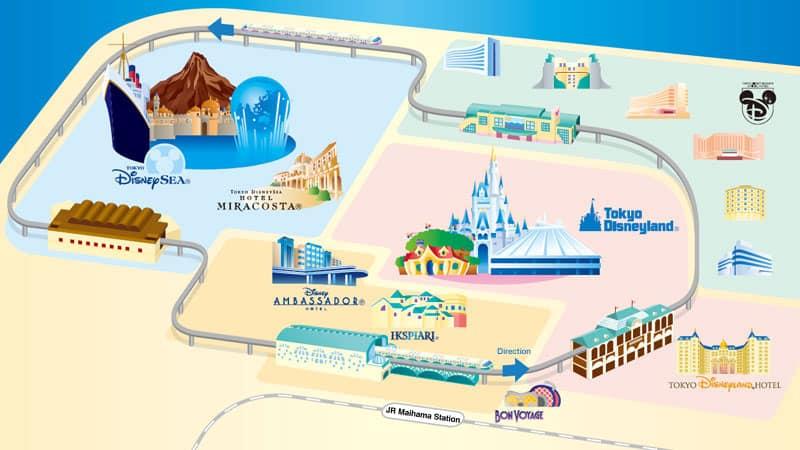 A map of the Tokyo Disney Resort Line