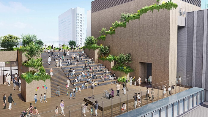 Planned outdoor plaza at the new Hiroshima Station building