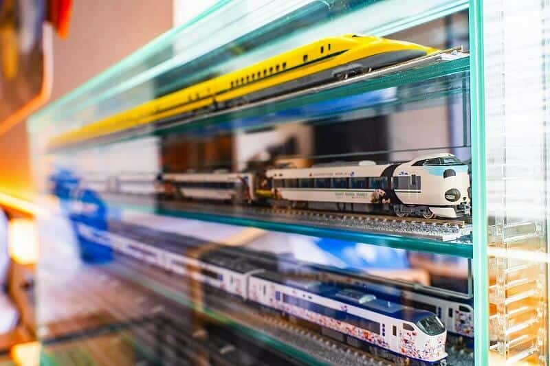 The room's display of model trains