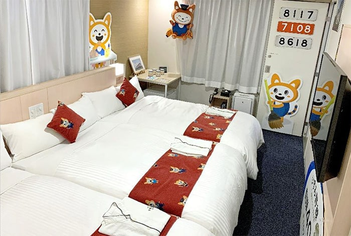 Bedding decorated with the So-nyan mascot