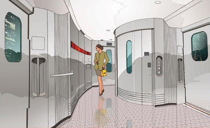 A deck design on the Kamome shinkansen
