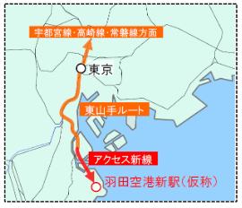 The East Yamanote Route is shown in orange
