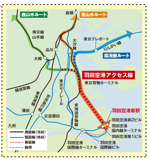 The West Yamanote Route is shown in green, The East Yamanote Route in orange and the Coastal Route is shown in blue