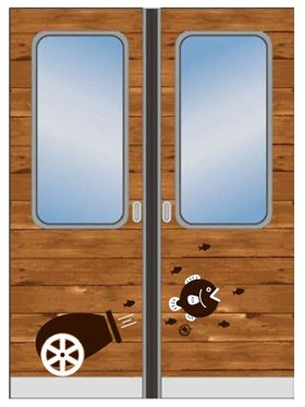 A cannon design on the train doors