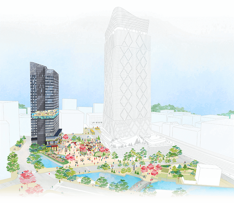A design image of the Tokyo Torch district with Tokiwabashi Tower on the left and Torch Tower on the right